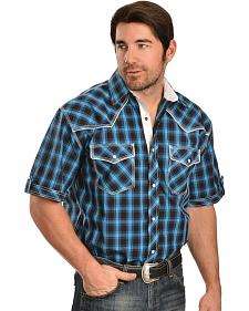 Red Ranch Black, Blue and Turquoise Plaid Short Sleeve Western Shirt