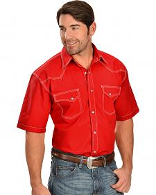 Red Ranch Triple Sttiched Red Short Sleeve Western Shirt