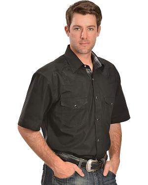 Red Ranch Short Sleeve Black Embroidered Western Shirt