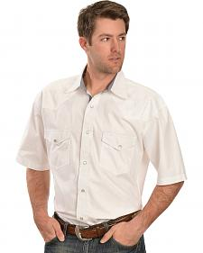 Red Ranch Short Sleeve White Embroidered Western Shirt