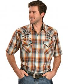 Ely Rust Plaid Embroidered Short Sleeve Western Shirt