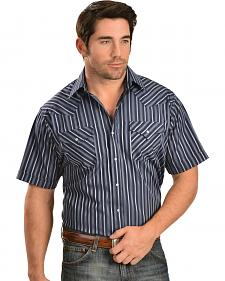 Ely Cattleman Dobby Navy and White Striped Western Shirt