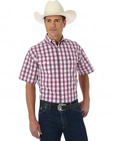 Wrangler George Strait Rose, Navy and White Plaid Short Sleeve Shirt