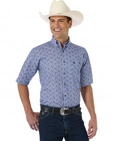 Wrangler George Strait Collection Blue Paisley Short Sleeve Shirt