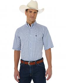 Wrangler George Strait Navy and White Plaid Short Sleeve Western Shirt