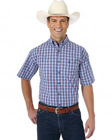 Wrangler George Strait Collection Blue, Navy and White Plaid Shirt Sleeve Shirt