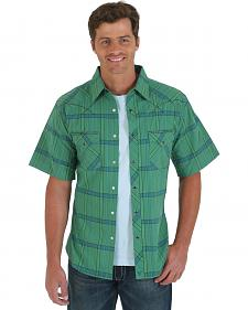 Wrangler 20X Green Plaid Short Sleeve Shirt