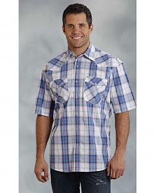 Roper Men's Amarillo Collection Blue & Red Plaid Short Sleeve Shirt