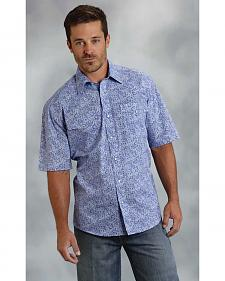 Roper Men's Amarillo Collection Blue Paisley Short Sleeve Shirt