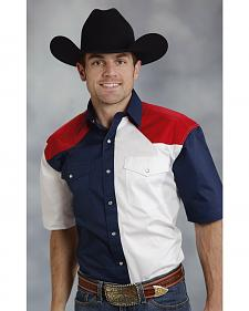 Roper Americana Collection Red, White and Blue Short Sleeve Western Shirt