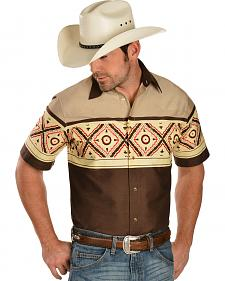 Gibson Tan and Brown Aztec Border Short Sleeve Western Shirt