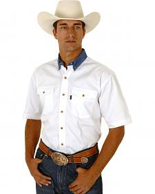 Roper Men's White Twill With Denim Collar Western Shirt