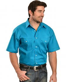 Gibson Trading Co. Solid Twill Turquoise Short Sleeve Shirt