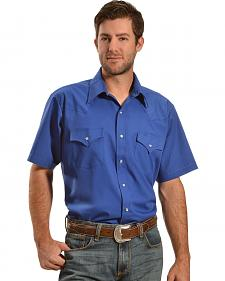 Ely Royal Blue Classic Western Short Sleeve Shirt