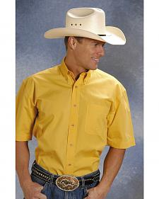 Roper Solid Yellow Poplin Short Sleeve Shirt