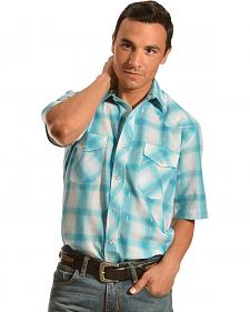 Gibson Trading Co. Turquoise Plaid Lurex Shirt