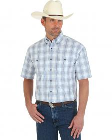 Wrangler George Strait Men's Short Sleeve Grey and White Plaid Shirt