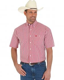 Wrangler George Strait Red Check Short Sleeve Western Shirt
