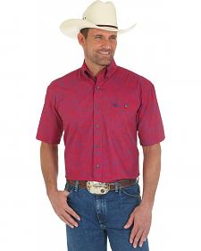 Wrangler George Strait Short Sleeve Red Print Shirt