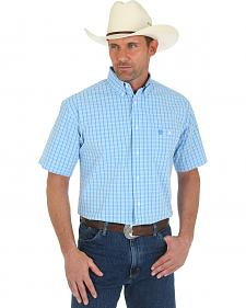 George Strait Blue Check Short Sleeve Western Shirt