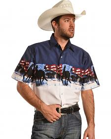 Ely Cumberland Outfitters Men's Patriotic Horse Border Print Western Shirt