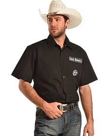 Jack Daniel's Men's Black Solid Twill Western Shirt
