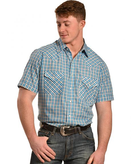 Ely Cattleman Turquoise Dobby Check Short Sleeve Western Shirt