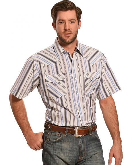 Ely Cattleman Men's Dobby Stripe Short Sleeve Western Shirt