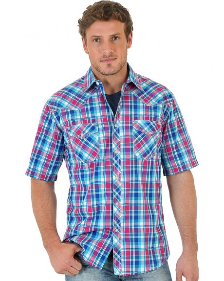 Wrangler 20X Short Sleeve Snap Teal Plaid Shirt