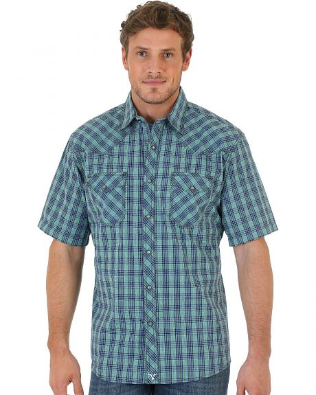 Wrangler 20X Short Sleeve Snap Green Plaid Shirt