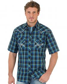 Wrangler 20X Men's Blue & Black Plaid Short Sleeve Shirt