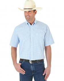 Wrangler George Strait Blue and White Check Short Sleeve Western Shirt