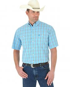 Wrangler George Strait Blue Plaid Poplin Short Sleeve Western Shirt
