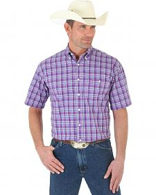 Wrangler George Strait Rose and Blue Plaid Short Sleeve Western Shirt