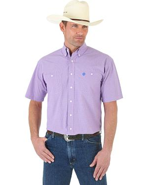 Wrangler George Strait Blue and Rose MIni-Plaid Poplin Short Sleeve Western Shirt