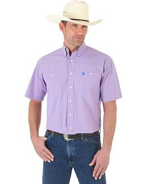 Wrangler George Strait Blue and Rose MIni-Plaid Poplin Short Sleeve Western Shirt