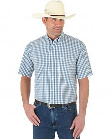 Wrangler George Strait Grey Plaid Poplin Western Shirt