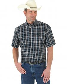 Wrangler George Strait Black and White Plaid Short Sleeve Western Shirt