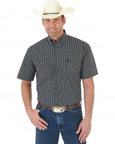 Wrangler George Strait Black and White Plaid Poplin Short Sleeve Western Shirt