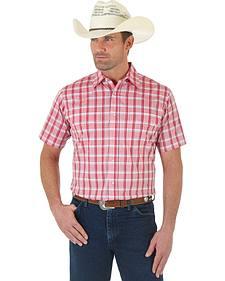 Wrangler Wrinkle Resistant Red Plaid Short Sleeve Western Shirt