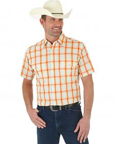 Wrangler Wrinkle Resistant Orange Plaid Short Sleeve Western Shirt