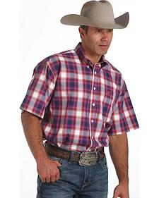 Cinch Men's Plum & White Plaid Short Sleeve Shirt