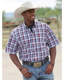 Cinch Men's Red & Blue Plaid Short Sleeve Shirt