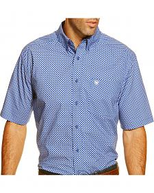 Ariat Men's Short Sleeve Garry Blue Print Western Shirt