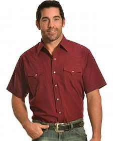 Ely Cattleman Men's Burgundy Short Sleeve Snap Shirt