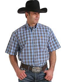 Cinch Men's Light Blue Plaid Western Shirt