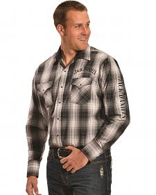 Jack Daniels Men's Embroidered Black & Grey Plaid Western Snap Shirt