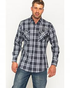 Jack Daniels Men's Black Plaid Logo Western Snap Shirt