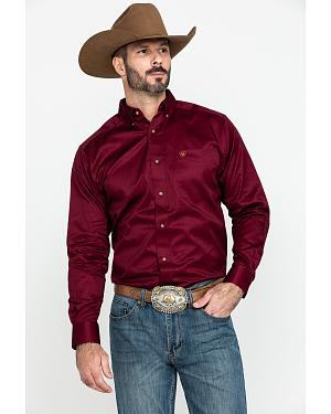Ariat Burgundy Twill Long Sleeve Shirt
