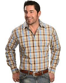 Wrangler George Strait Tan Plaid Snap Western Shirt